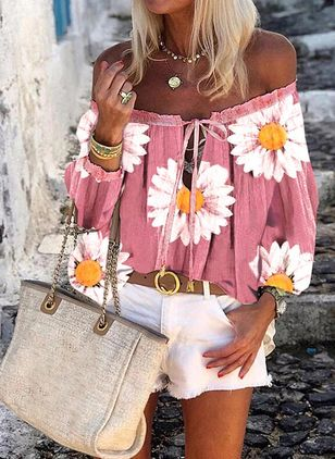 Floral Casual Off the Shoulder Long Sleeve Blouses (4369607)