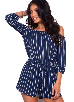 Polyester Stripe 3/4 Sleeves Backless Jumpsuits & Rompers