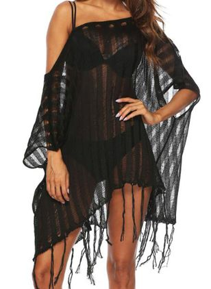 Polyester Oblique Neckline Solid Tassels Cover-Ups Swimwear (146988227)