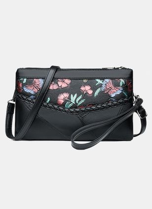 Clutches Vintage Zipper Print Double Handle Bags (104135115)