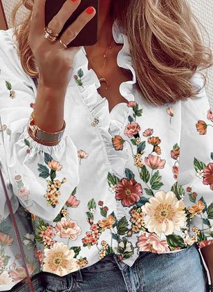 Floral Casual V-Neckline Long Sleeve Blouses (146914030)