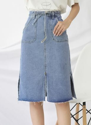 Solid Knee-Length Casual Pockets Sashes Skirts
