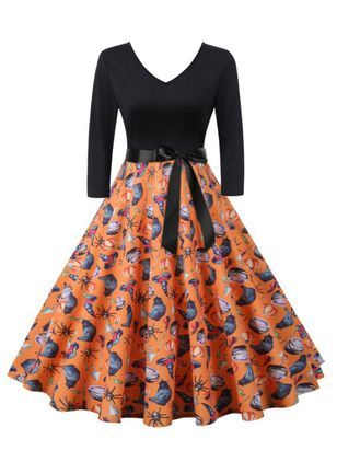 Halloween Floral V-Neckline Midi X-line Dress (109555986)