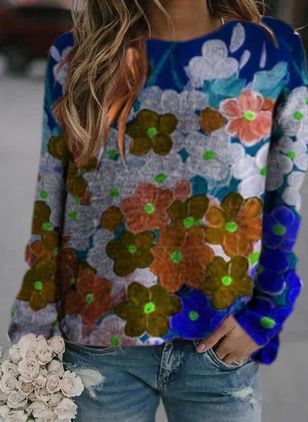 Round Neckline Floral Casual Regular Shift Sweaters (146664543)