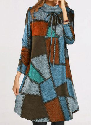 Casual Color Block Shirt High Neckline Shift Dress (146664542)
