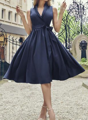 Elegant Solid V-Neckline Midi X-line Dress (111852629)