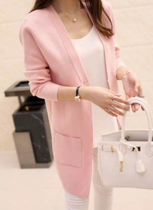 Cotton & Cotton Blend Long Sleeve Collarless Pockets Coats