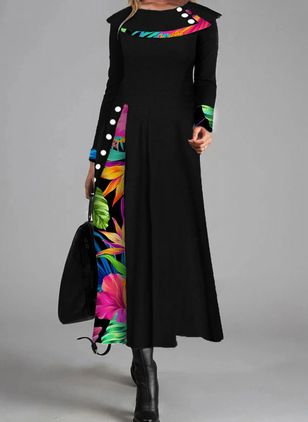 Casual Floral Round Neckline Maxi X-line Dress (122030446)