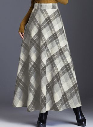 Color Block Maxi Casual Skirts (109555665)