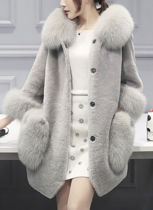 Long Sleeve Hooded Buttons Pockets Unremovable Fur Collar Fur Coats