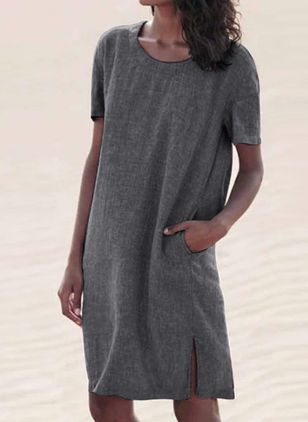 Casual Solid Tunic Round Neckline Shift Dress (100547286)