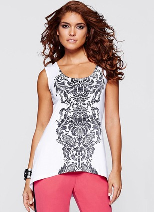 Polyester Floral Round Neck Sleeveless T-shirts