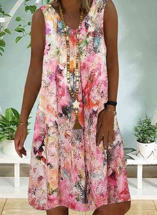 Casual Floral Tunic V-Neckline A-line Dress (100038318)