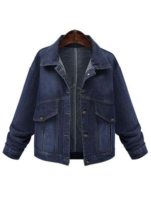Long Sleeve Collar Buttons Pockets Denim Jackets