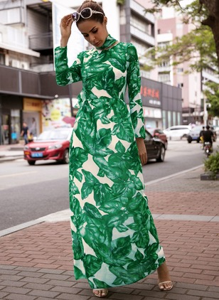 Chiffon Floral Long Sleeve Maxi A-line Dress