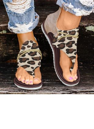Women's Leopard Zipper Flats Flat Heel Sandals