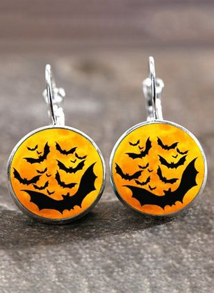 Halloween Round No Stone Hoop Earrings (107952969)