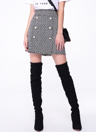 Polyester Solid Above Knee Casual Buttons Skirts