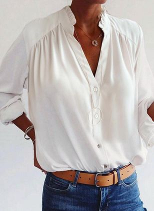 Solid Casual V-Neckline Long Sleeve Blouses (146936822)