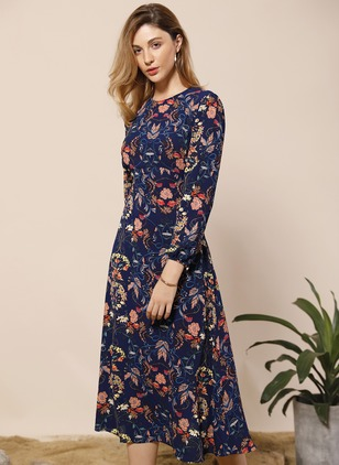 Polyester Floral Long Sleeve Mid-Calf Elegant Dresses