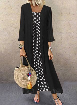 Plus Size Polka Dot Round Neckline Casual Buttons Maxi Plus Dress