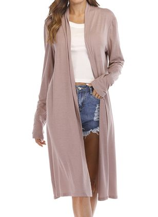 Plus Size Long Sleeve V-neck Coats (111322329)