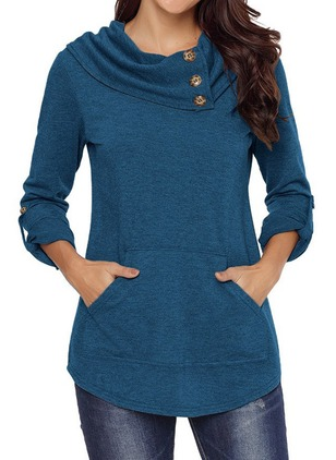Draped Neckline Solid Regular Buttons Sweaters