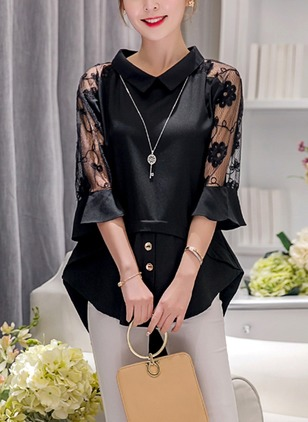 Solid Casual Polyester Others 3/4 Sleeves Blouses