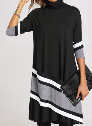 Casual Color Block Tunic High Neckline Shift Dress (1402199)