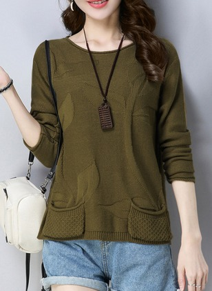 Cotton Round Neckline Floral Loose Pockets Sweaters