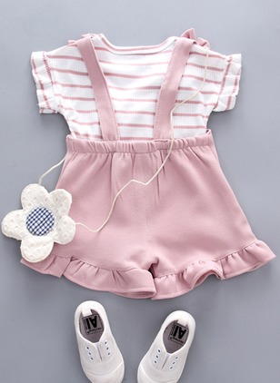 Girls' Stripe Daily Short Sleeve Clothing Sets