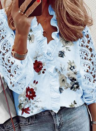 Floral Casual V-Neckline Long Sleeve Blouses (147927344)