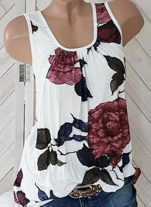 Floral Round Neck Sleeveless Casual T-shirts (4043572)