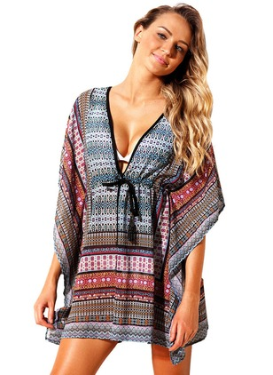 Polyester Geometric Cover-Ups Swimwear
