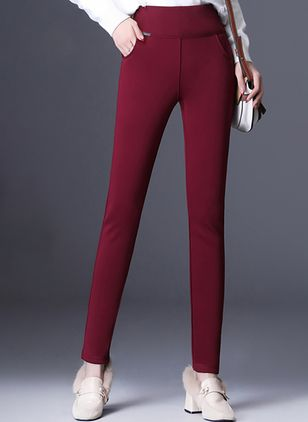 Casual Straight Pockets High Waist Polyester Pants (146659030)