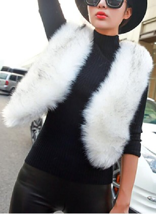 Faux Fur Sleeveless Collarless Others Sleeveless Coats Coats
