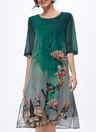 Chinese Style Floral Round Neckline Midi Shift Dress (1044496)