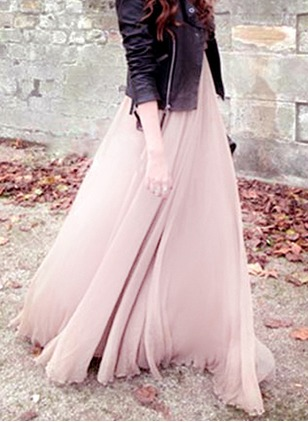 Polyester Solid Maxi Casual None Skirts