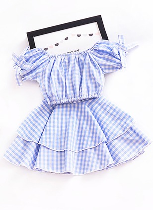 Girls' Plaid Daily Short Sleeve Clothing Sets