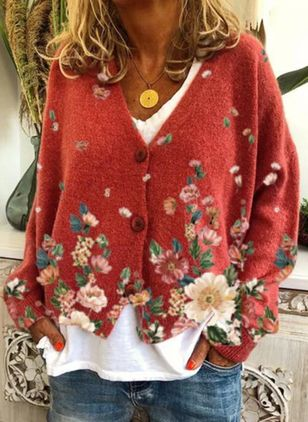 Long Sleeve V-neck Buttons Sweaters Coats (146771258)