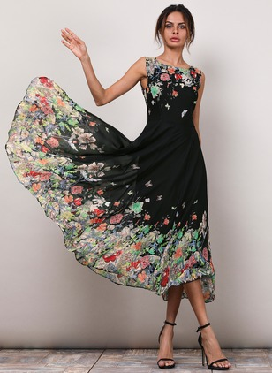 Floral Boat Neckline Sleeveless Midi A-line Dress