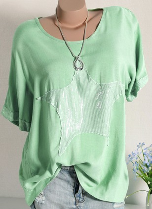Cotton Solid Round Neck Short Sleeve T-shirts
