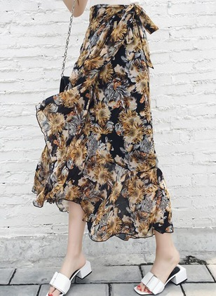 Polyester Floral Mid-Calf Ruffles Skirts