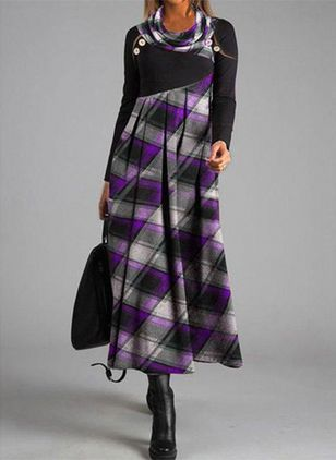 Casual Plaid Shirt Round Neckline Shift Dress (108089045)