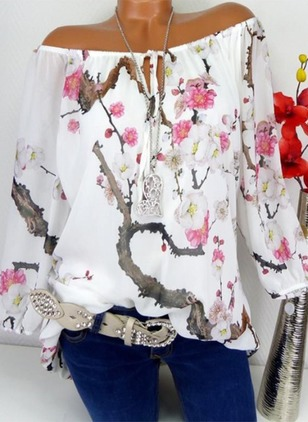 Floral Cotton Boat Neckline Long Sleeve Blouses