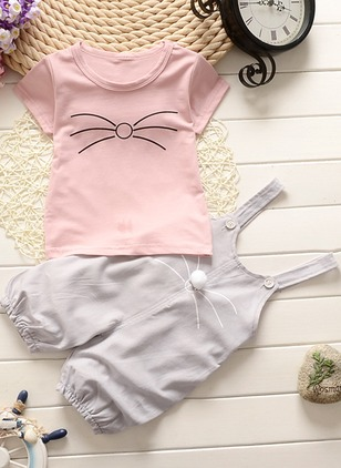 Girls' Cartoon Daily Short Sleeve Clothing Sets