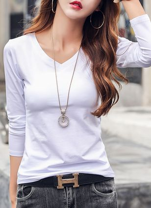 Solid V-Neckline 3/4 Sleeves Casual T-shirts