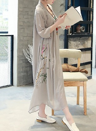 Cotton Floral Half Sleeve Maxi Casual Dresses