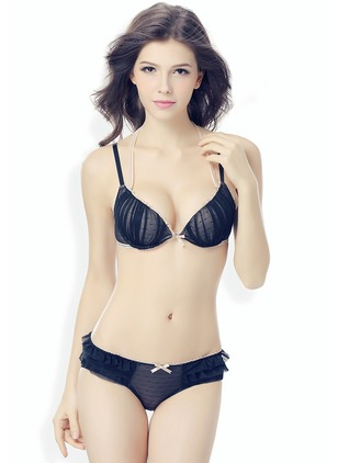 Polyester Color Block Mesh Bow Lingerie Sets