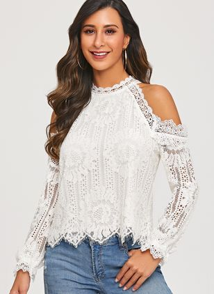 Solid Sexy Camisole Neckline Long Sleeve Blouses (1299740)